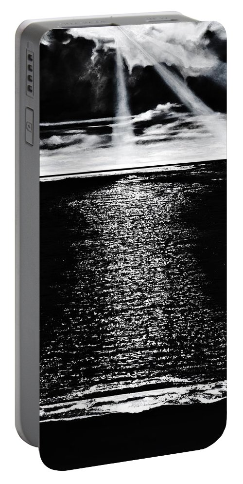 Ocean Portable Battery Charger featuring the painting Moonrise Over The Atlantic by Denise Goldstein