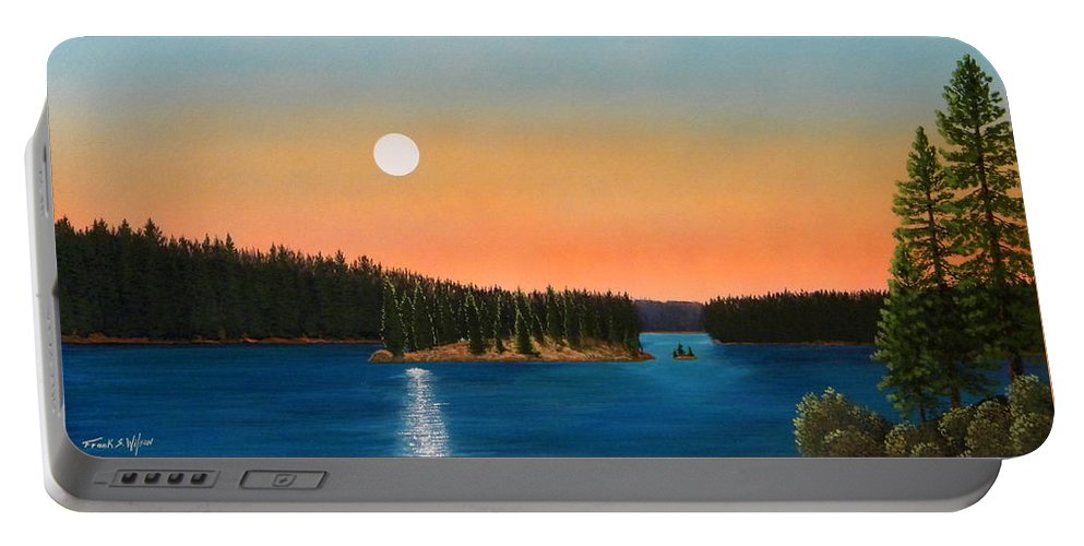 Landscape Portable Battery Charger featuring the painting Moonrise Over The Lake by Frank Wilson