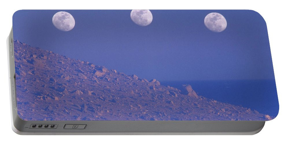 Multiple Exposure Portable Battery Charger featuring the photograph Moons And Dunes by Soli Deo Gloria Wilderness And Wildlife Photography