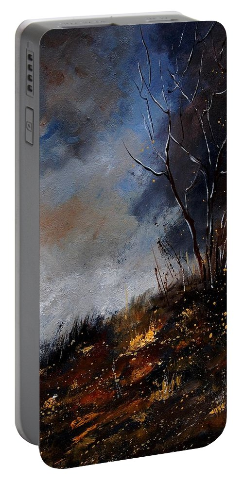 Winter Portable Battery Charger featuring the painting Moonshine 45901190 by Pol Ledent