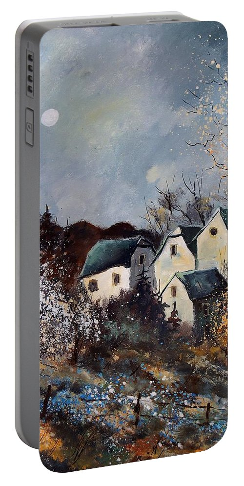 Village Portable Battery Charger featuring the painting Moonshine by Pol Ledent