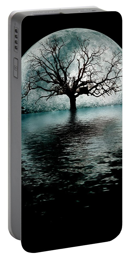 Moontree Portable Battery Charger featuring the digital art Moontree by Joseph Davis