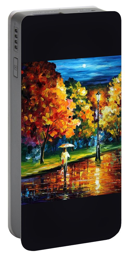 Afremov Portable Battery Charger featuring the painting Moony Night by Leonid Afremov