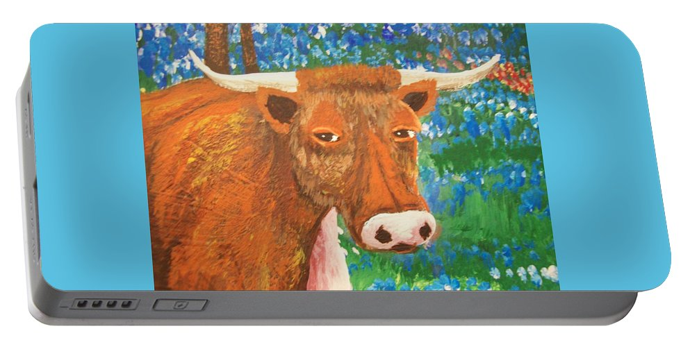 Folk Portable Battery Charger featuring the painting Mooo - Na - Lisa by Susan Michutka