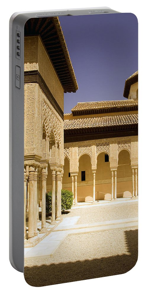 Moorish Portable Battery Charger featuring the photograph Moorish Architecture In The Nasrid Palaces At The Alhambra Granada by Mal Bray