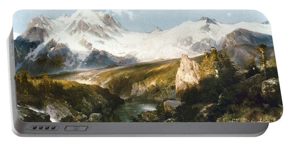 1897 Portable Battery Charger featuring the painting Moran: Teton Range, 1897 by Granger
