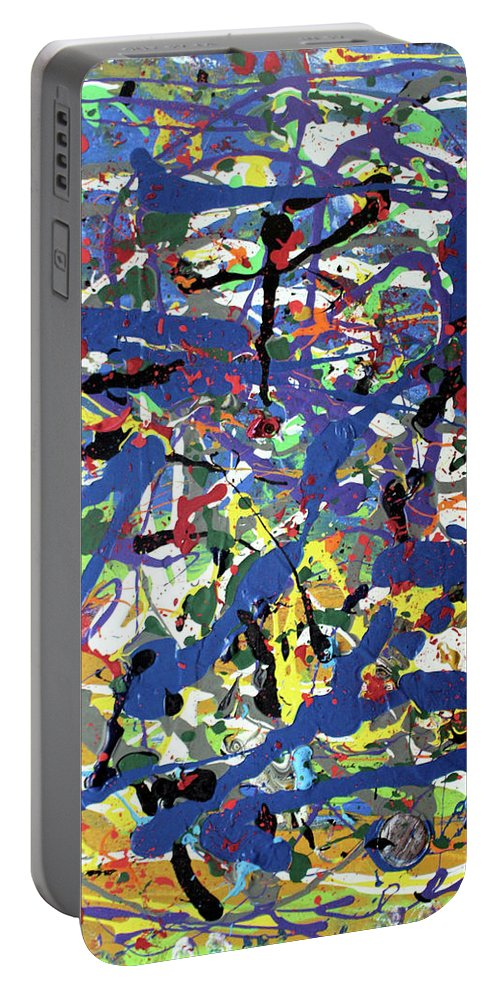 Blue Portable Battery Charger featuring the painting More Blueness by Pam Roth O'Mara