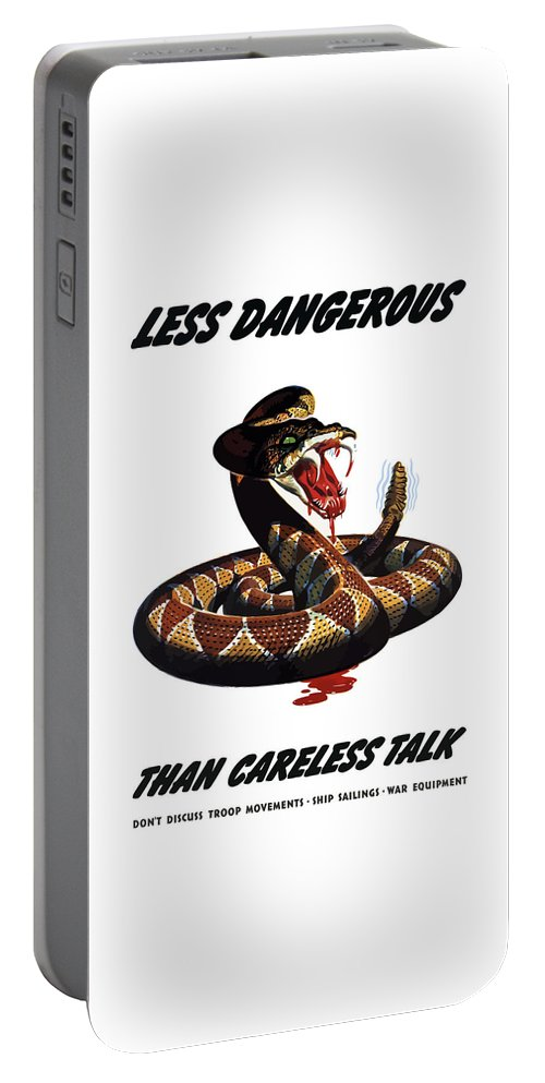 Rattlesnake Portable Battery Charger featuring the painting More Dangerous Than A Rattlesnake - Ww2 by War Is Hell Store