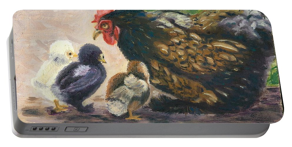 Chickens Portable Battery Charger featuring the painting More Of Life by Paula Emery