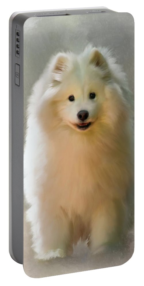 Samoyed Portable Battery Charger featuring the digital art More Snow Please by Lois Bryan