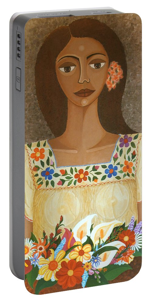 Oil Portable Battery Charger featuring the painting More Than Flowers She Sold Illusions by Madalena Lobao-Tello