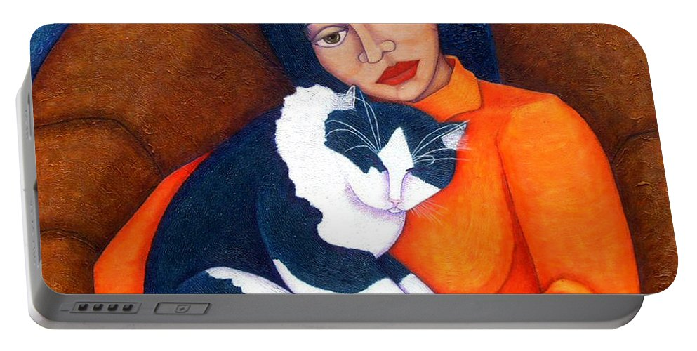 Woman Portable Battery Charger featuring the painting Morgana With Woman by Madalena Lobao-Tello