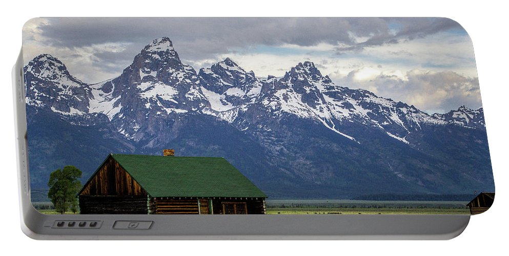 Mormon Row Portable Battery Charger featuring the photograph Mormon Row Barn by Adriana Wolff