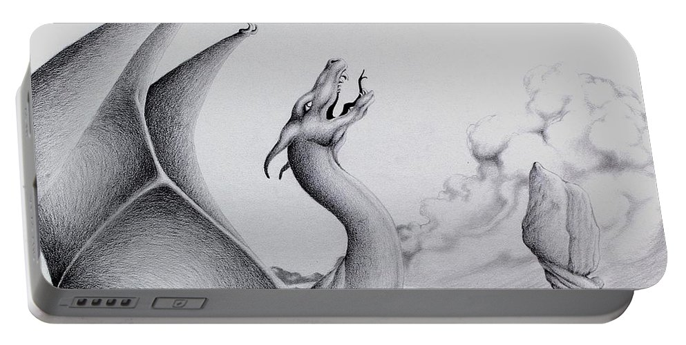Dragon Portable Battery Charger featuring the digital art Morning Bellow by Robert Ball