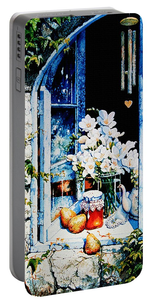 Morning Delight Portable Battery Charger featuring the painting Morning Delight by Hanne Lore Koehler