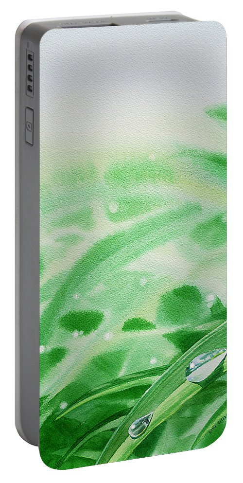 Dew Drop Portable Battery Charger featuring the painting Morning Dew Drops by Irina Sztukowski