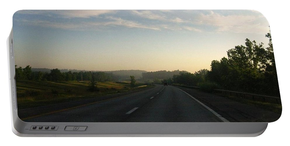 Landscape Portable Battery Charger featuring the photograph Morning Drive by Rhonda Barrett