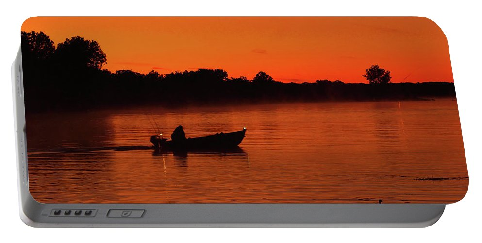 Boating Portable Battery Charger featuring the photograph Morning Fishing On The Lake by Nick Zelinsky