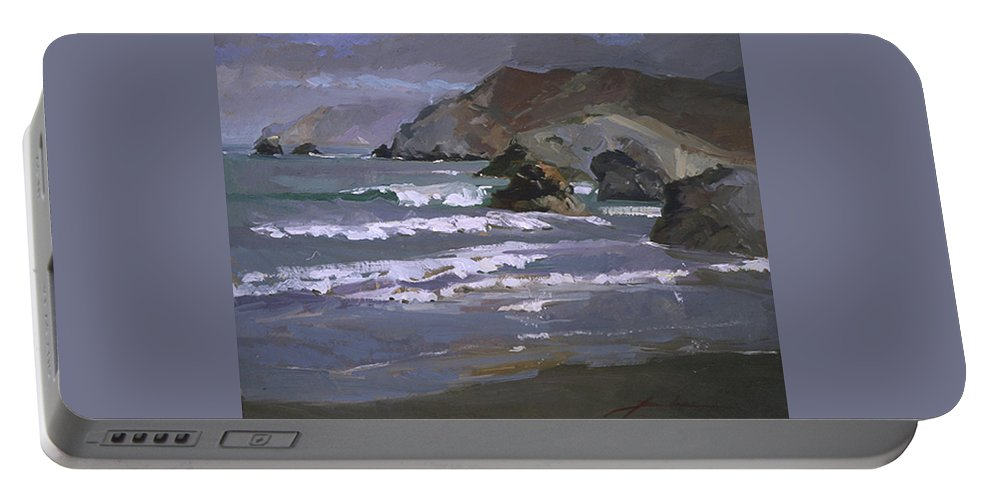 Seascape Portable Battery Charger featuring the painting Morning Fog Shark Harbor - Catalina Island by Betty Jean Billups