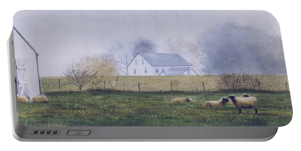 Watercolor Portable Battery Charger featuring the painting Morning Fog by Denny Bond