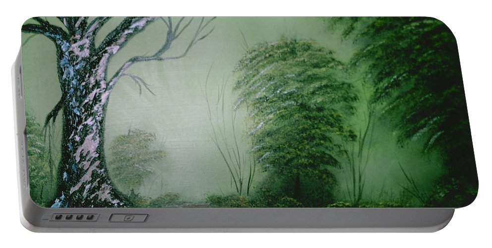 Trees Portable Battery Charger featuring the painting Morning Fog by Jim Saltis