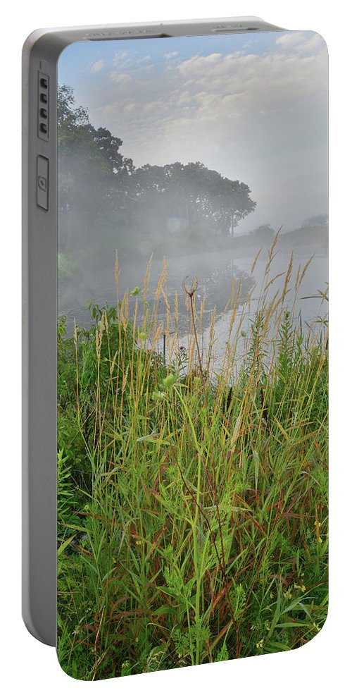 Black Eyed Susan Portable Battery Charger featuring the photograph Morning Fog On Glacial Park Pond by Ray Mathis