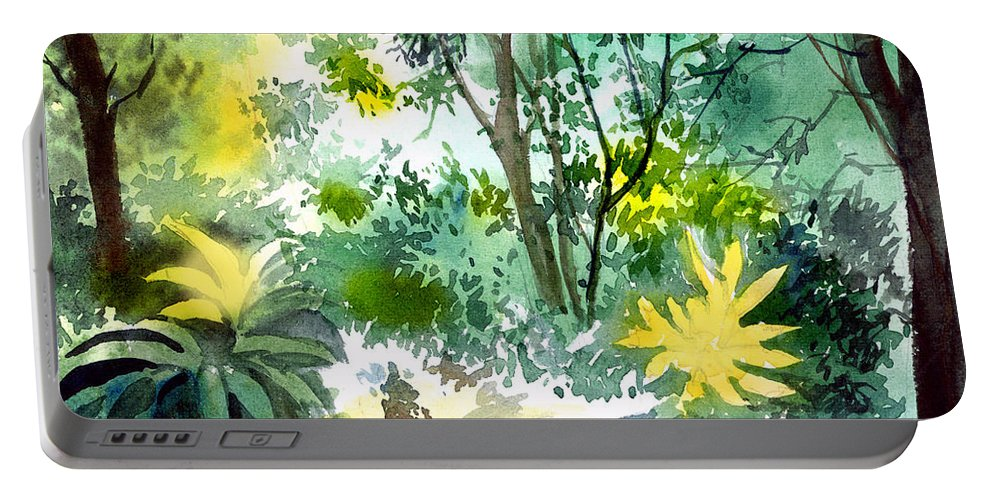 Landscape Portable Battery Charger featuring the painting Morning Glory by Anil Nene
