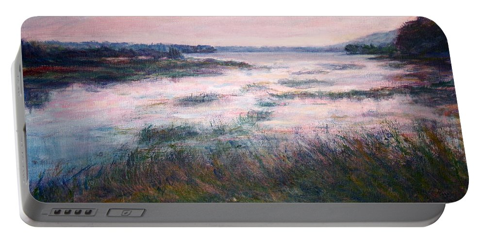 Water Portable Battery Charger featuring the painting Morning Glow by Quin Sweetman
