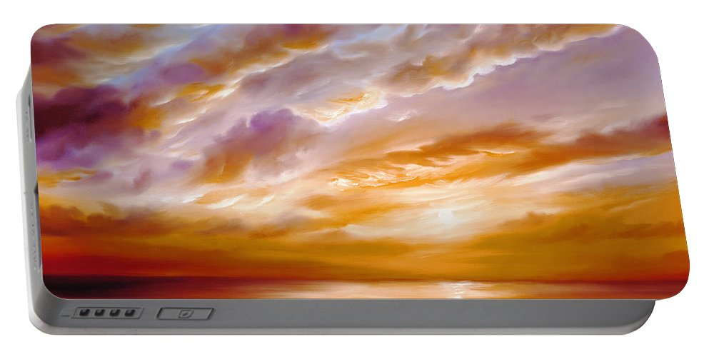 Sunrise; Sunset; Power; Glory; Cloudscape; Skyscape; Purple; Red; Blue; Stunning; Landscape; James C. Hill; James Christopher Hill; Jameshillgallery.com; Ocean; Lakes; Creation; Genesis Portable Battery Charger featuring the painting Morning Grace by James Christopher Hill