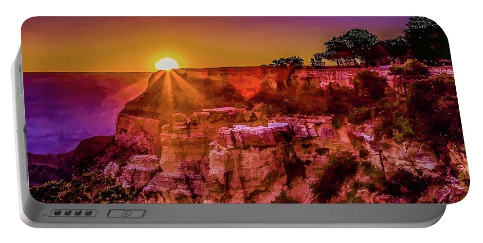 Grand Canyon Portable Battery Charger featuring the digital art Morning Has Broken 2-painterly by Lisa Lemmons-Powers