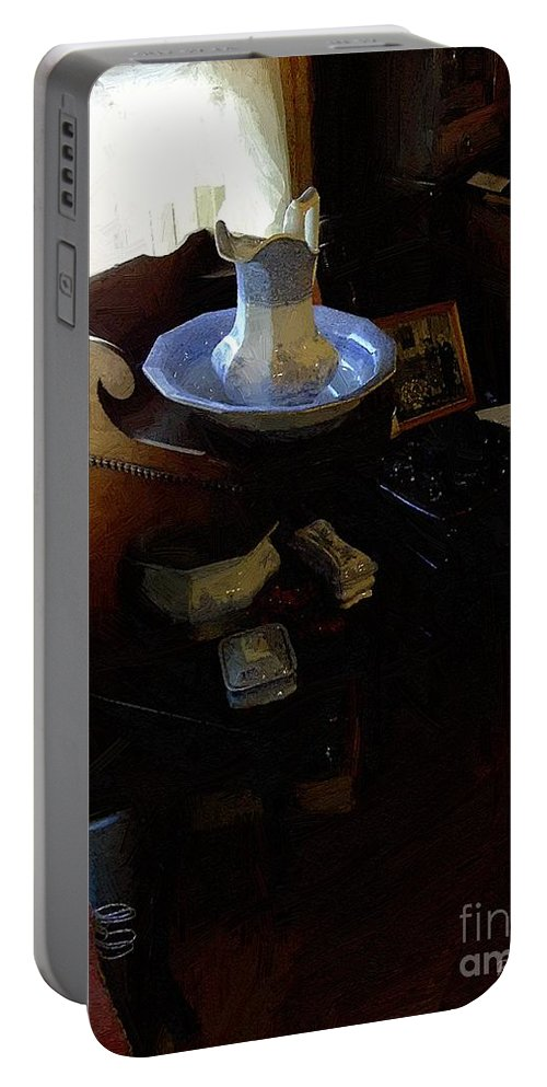 Antiques Portable Battery Charger featuring the painting Morning In The Study by RC DeWinter