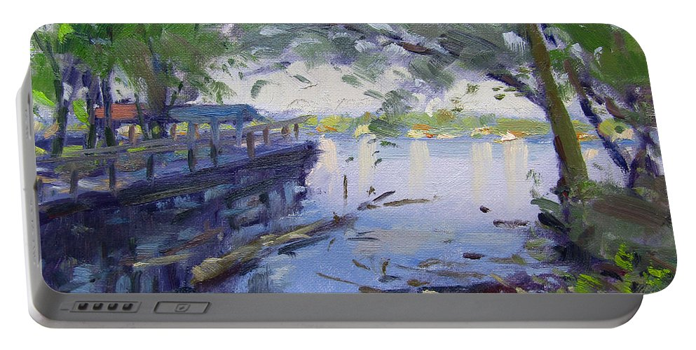 Morning Light Portable Battery Charger featuring the painting Morning Light By The River by Ylli Haruni