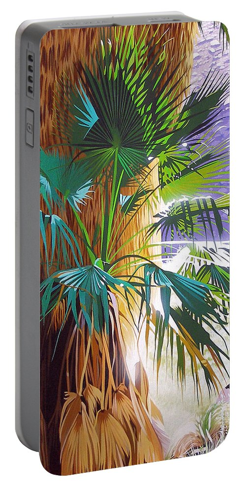 Palm Tree Portable Battery Charger featuring the painting Morning Light by Joe Roselle