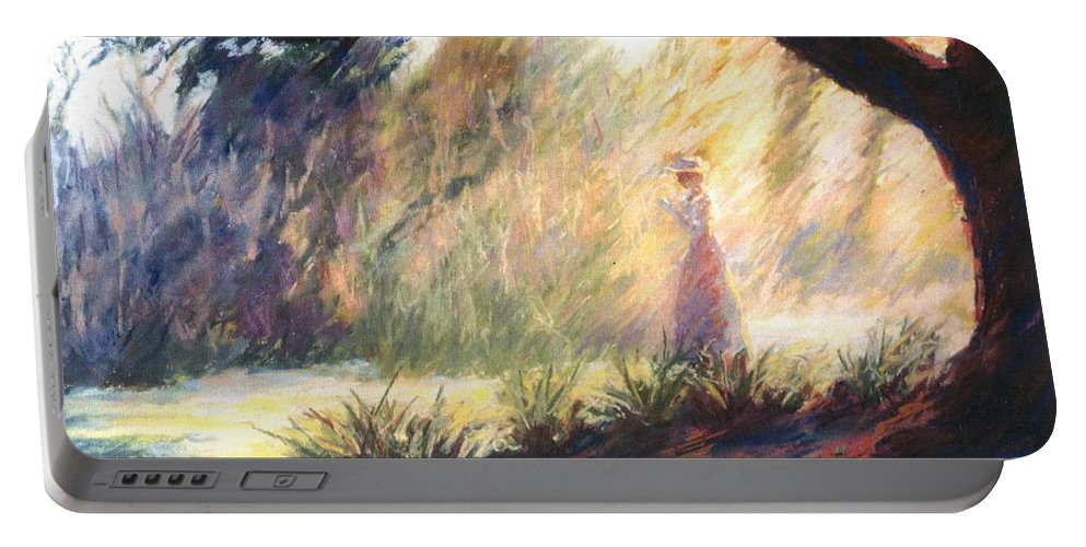 Woman Meditating Tree Park Outdoor Portable Battery Charger featuring the pastel Morning Meditation by Pat Snook