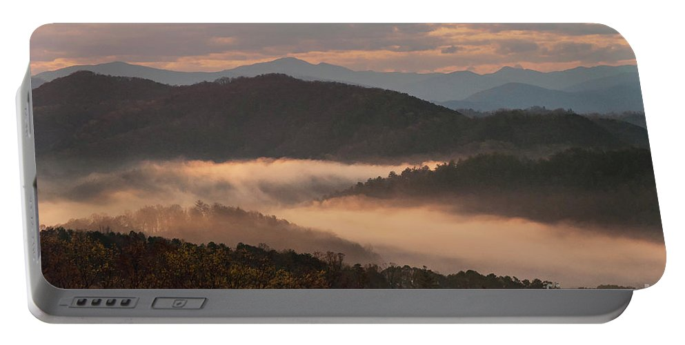 Foothills Parkway Portable Battery Charger featuring the photograph Morning Mist Four by Bob Phillips