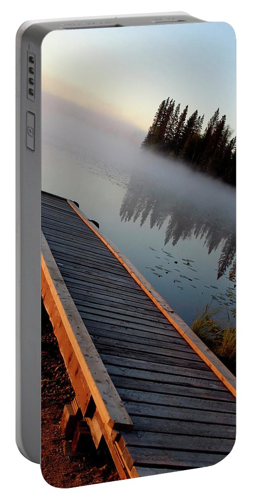 Mist Portable Battery Charger featuring the digital art Morning Mist Over Lynx Lake In Northern Saskatchewan by Mark Duffy