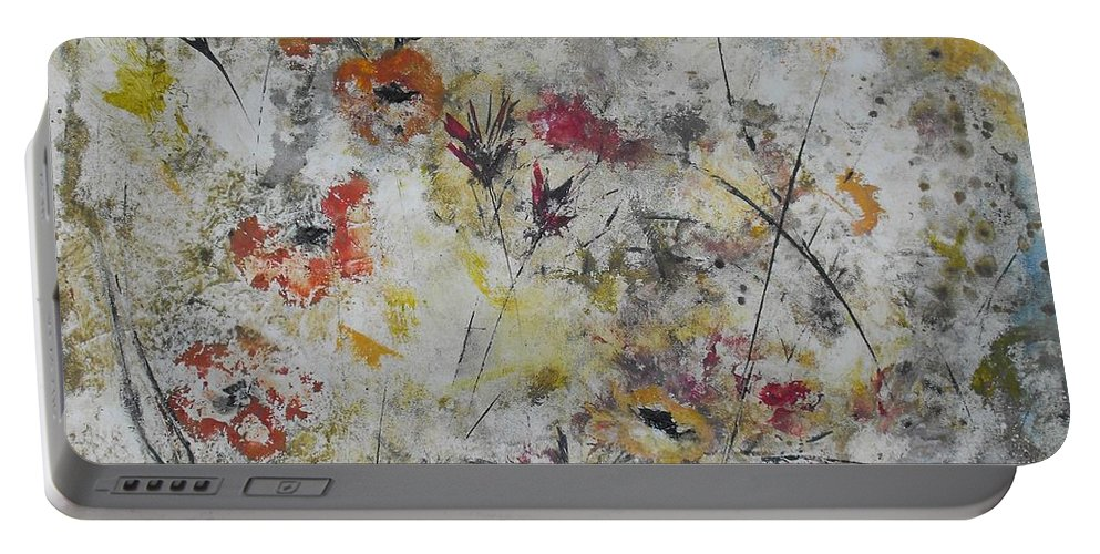 Abstract Portable Battery Charger featuring the painting Morning Mist by Ruth Palmer