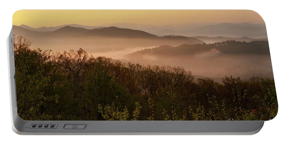 Foothills Parkway Portable Battery Charger featuring the photograph Morning Mist Three by Bob Phillips