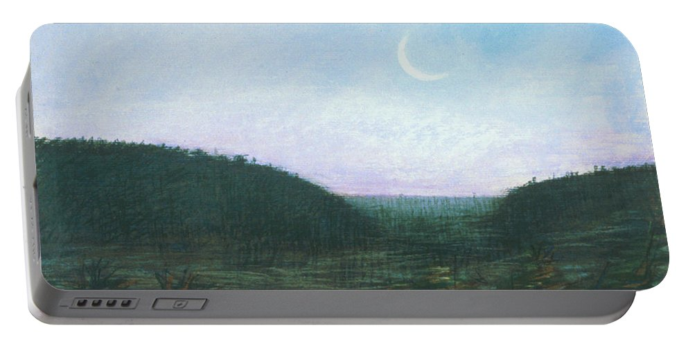 Waxing Crescent Rising In The Morning Portable Battery Charger featuring the painting Morning Moon Rise by Maryanna Bock