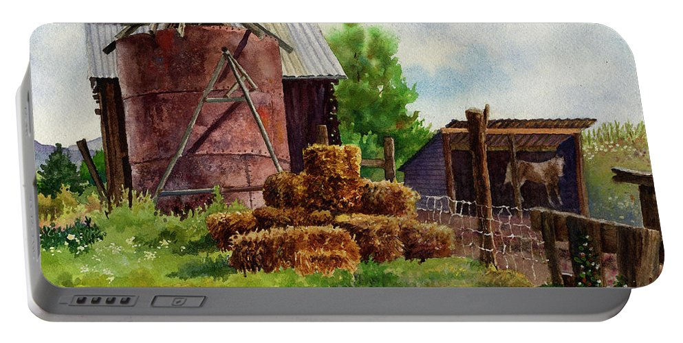 Barn Painting Portable Battery Charger featuring the painting Morning On The Farm by Anne Gifford