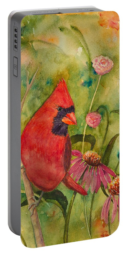Birds Portable Battery Charger featuring the painting Morning Perch In Red by Renee Chastant