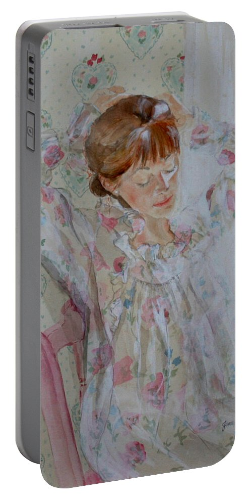 Morning Portable Battery Charger featuring the painting Morning Ritual by Jean Blackmer