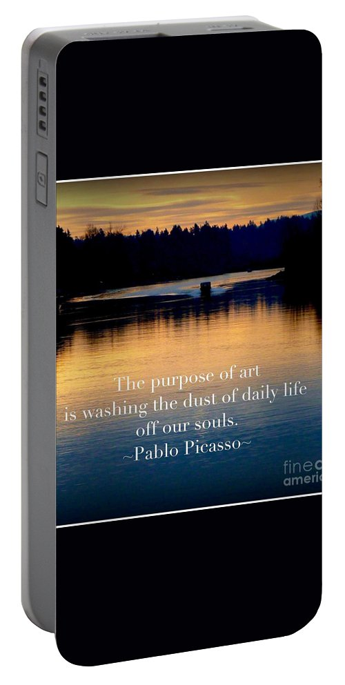 Morning River Run Scenic Landscape With Quote. Wall Art Portable Battery Charger featuring the photograph Morning River Run by Susan Garren
