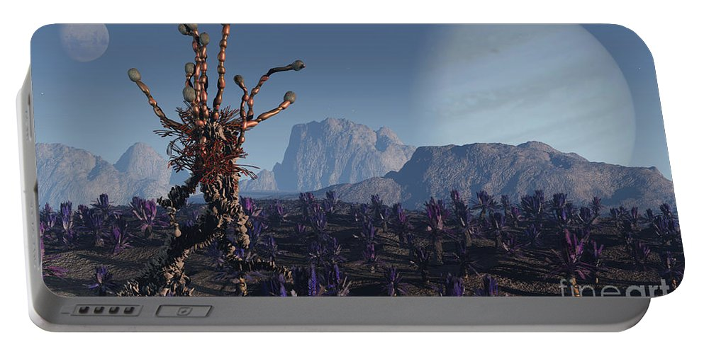 Alien Portable Battery Charger featuring the digital art Morning Stroll by Richard Rizzo