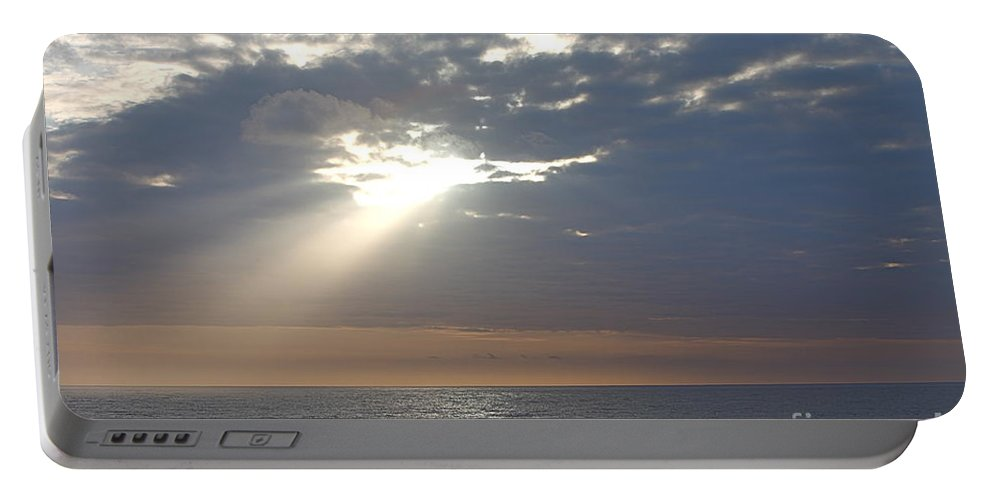 Sky Portable Battery Charger featuring the photograph Morning Sunburst by Nadine Rippelmeyer