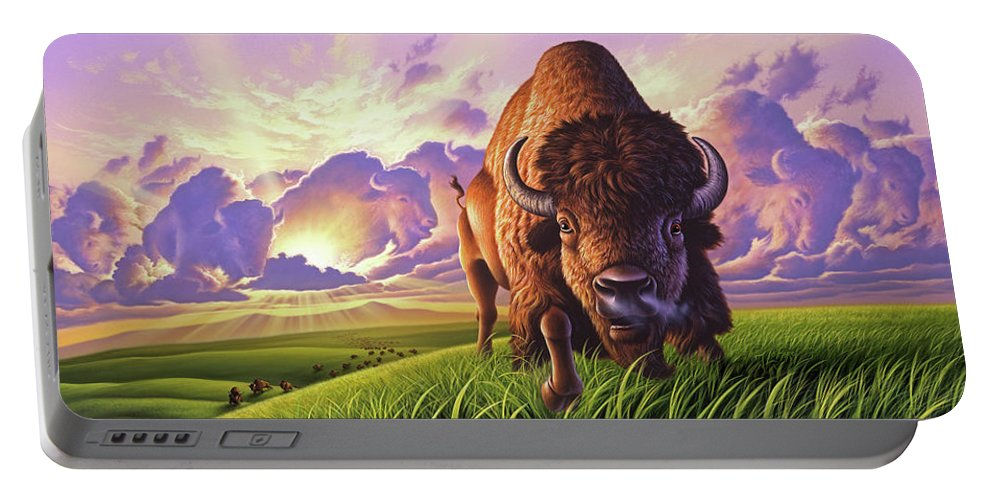 Buffalo Portable Battery Charger featuring the painting Morning Thunder by Jerry LoFaro