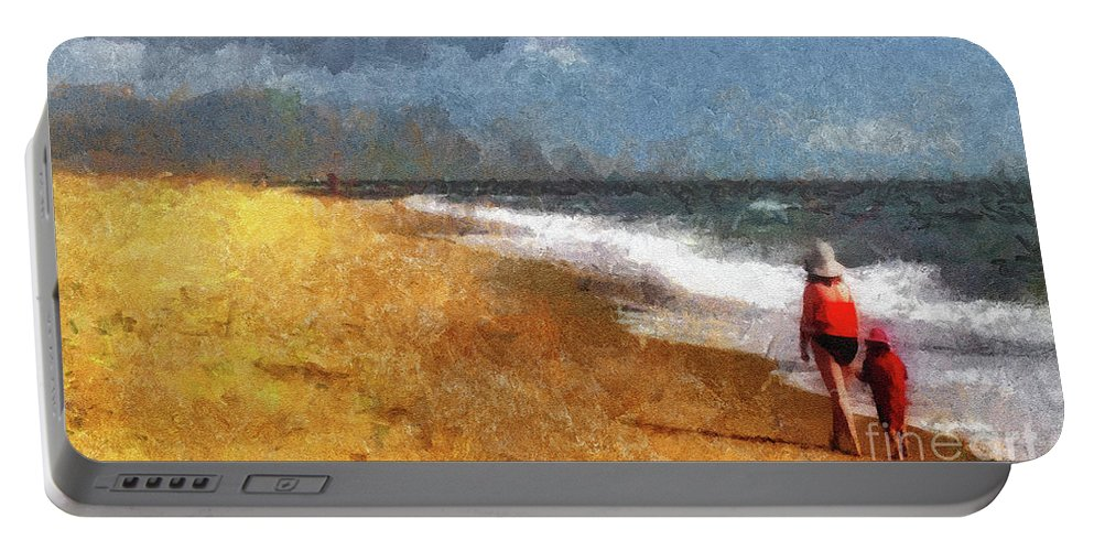 Beach Portable Battery Charger featuring the photograph Morning Walk Along The Beach by Betsy Foster Breen