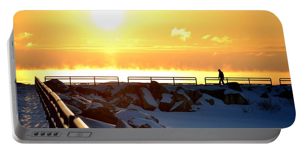 Michigan Portable Battery Charger featuring the photograph Morning Walk by Ryan Zeller Photography