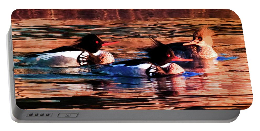Wild Ducks Portable Battery Charger featuring the photograph Mornings Of Gold by Karen Wiles