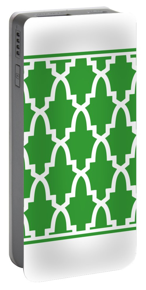 Moroccan Arch Portable Battery Charger featuring the digital art Moroccan Arch With Border In Dublin Green by Custom Home Fashions